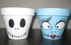 Easy to paint clay pots for Halloween