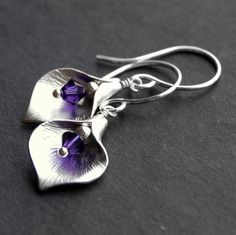 Silver Calla Lily Earrings with Purple Swarovski Crystal