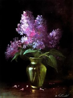 For my Nana - By artist Serguei Toutounov. Black Canvas Paintings, Canvas Art, Art Floral, Lilac Painting, Still Life Flowers, Still Life Art, Pastel Art, Abstract Flowers, Pictures To Paint