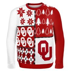 Oklahoma Sooners NCAA Ugly Sweater Busy Block available at uglyteams.com