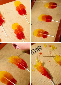 make homemade cinnmon suckers look like flames using three colors, and a toothpick