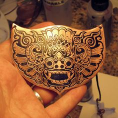 Items similar to Balinese Guardian Spirit, Barong the Spirit King! Original Design Necklace in Copper with Indigo on Etsy Small Tattoos, Cool Tattoos, Balinese Tattoo, Bull Logo, Tattoo Addiction, Indonesian Art, Barong, Mask Tattoo, Japan