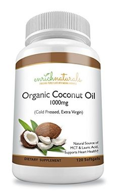 Organic Coconut Oil Softgels 1000mg Cold Pressed Extra Virgin Coconut Oil Pills Natural Source of MCT  Lauric Acid 120 Capsules Easy to Swallow Coconut Oil Supplements * Want to know more, click on the image.  This link participates in Amazon Service LLC Associates Program, a program designed to let participant earn advertising fees by advertising and linking to Amazon.com.