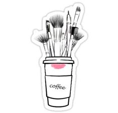makeup Logo illustration - 'Makeup Brushes' Sticker by Nobie Fried Makeup Backgrounds, Makeup Wallpapers, Makeup Illustration, Illustration Mode, Japanese Illustration, Makeup Humor, Makeup Quotes, Printable Stickers, Cute Stickers
