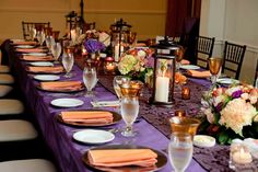 Orange & purple wedding table