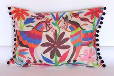 Digital otomi print cushion cover with pom poms by PeakLane, $65.00