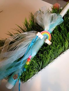 Idea for Goddaughters 'Somewhere Over the Rainbow' Greek Easter Candle Easter Ideas, Easter Crafts, Easter Candle, Greek Easter, Somewhere Over, Godchild, Organza Ribbon, Daughter Of God, Handmade Candles