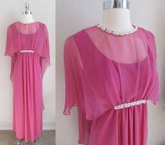 So 70s Raspberry Chiffon Cover Maxi Dress, Sleeveless Bodice, Rounded Neck Sz M #Handmade #Maxi #Clubwear