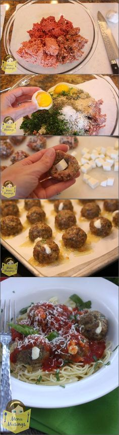 Mozzarella-Stuffed 3 Meat Italian Meatballs - Step-by-step photos to making these super flavorful and tender baked meatballs from a trio of ground beef, Italian sausage, and veal then stuffed with fresh mozzarella! Oh MY!! ♥