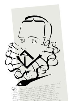 Beautiful Typographic Portrait of Miguel de Cervantes  -  Miguel de Cervantes Original portrait with letters and numbers: - The portrait can be seen as having the peculiarity of being made with the best weapon of the writers: words.