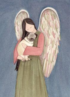 Pug dog cradled by angel / Lynch signed folk art print