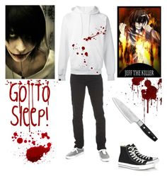 """""""Jeff the Killer - Creepypasta - Cosplay"""" by shadow-cheshire ❤ liked on Polyvore featuring SWEAR, Converse, Wolf, women's clothing, women's fashion, women, female, woman, misses and juniors"""