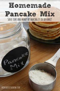 6 cups flour ⅓ cup sugar 3 Tbsp baking powder 2 tsp baking soda 1 tsp salt To use: 1 c mix, 1 egg, 1 c milk Easy Homemade Pancakes, How To Make Pancakes, Pancakes And Waffles, Fluffy Pancakes, Vegan Pancakes, Diy Pancake Mix, Basic Pancake Mix Recipe, Waffle Mix, Recipe Mix
