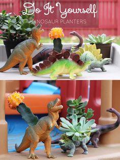 Dinosaur Succulent Planters via @sheenatatum