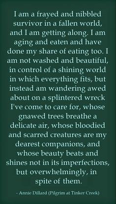 Pilgrim at Tinker Creek - Annie Dillard. ~ETS #lifeisbeautiful #embraceimperfections