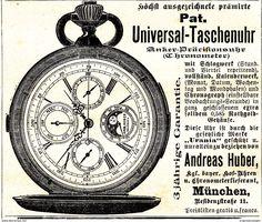 Werbung - Original-Werbung/ Anzeige 1901 - TASCHENUHR / ANDREAS HUBER - MÜNCHEN - ca. 90 x 75 mm