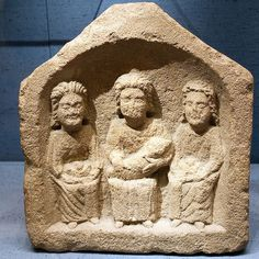 Above: two examples of three mother goddesses, Celtic objects of worship from Roman times