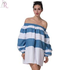 Color Block Stripe Off Shoulder Puff Mini Dress