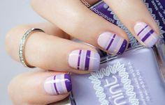Diseños de uñas con rayas y colores, diseños de uñas con rayas rosa violeta.   #uñasdecoradas #nailsdesign #uñasdemoda