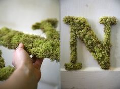"theweddingfile: "" Letter N Custom Moss Door Hanging Initial by SimpleSweetDesign """