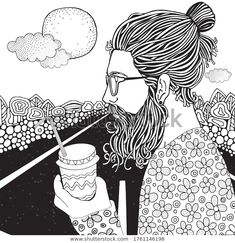 Bearded Man Coffe Long Car Highway Stock Vector (Royalty Free) 1761146198 Adult Coloring Book Pages, Coloring Books, Man Illustration, Zen Art, Image Now, Bearded Men, Zentangle, Art Ideas, Royalty