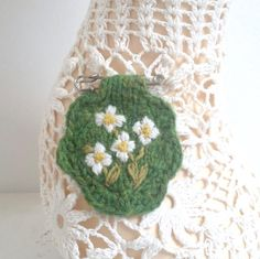 Embroidered brooch hand knitted - Tazetta Narcissus by Laviniaslegacy on Etsy