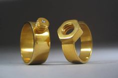 """nuts and bolts"" wedding bands -- so cute!"