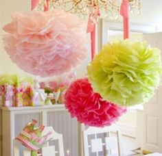 Lilly Pulitzer Pom Poms - Fuchsia, Lime Green and Light Pink Hanging Pom Poms - Set of 3. $15.00, via Etsy.