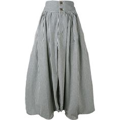 Chloé striped harem trousers (295 BHD) ❤ liked on Polyvore featuring pants, blue, cotton harem pants, high waisted harem pants, striped wide-leg pants, wide leg cropped pants and white pants