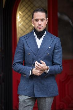 mens turtleneck sweater under shirts outfit idea