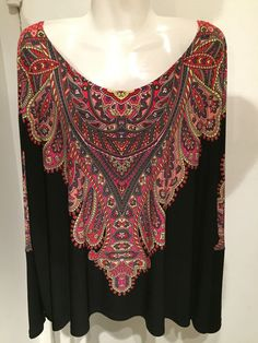 JULIAN CHANG Slinky Black Boho Paisley Knit Top Long Dolman Sleeve XL/XXL EUC #JULIANCHANG $49.99 Free Ship