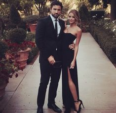 Him Her All Black Everything Suit & Tie Evening Dress Love Couple Relationship