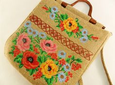 beautifully #handmade flower #embroidery #burlap #jute sling #bag by #FediyS on #Etsy