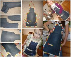 DIY kids apron from old jeans #diy #craft