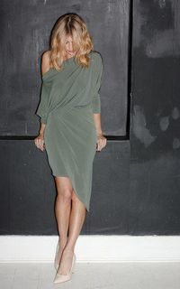 Stunning Tricia Khaki off one shoulder asymmetric midi wrap dress perfect for any occasion
