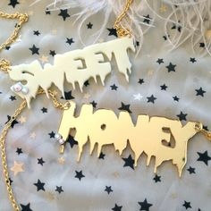 "SWEET or HONEY Acrylic Necklace by imyourpresent on Etsy, $12.00 [NOTE: gold ""honey""]"