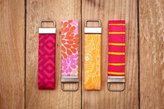 We <3 keychains for your favorite human too! Keychain Pink Fabric Loop Pink Orange Yellow Coral by ZaleyDesigns, $10.00