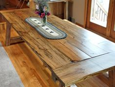 Harvest Table Two Benches Included Farmhouse by NewRusticRevival Dream Furniture, Country Furniture, Furniture Redo, Dinning Room Tables, Farm Tables, Wooden Table Top, Table Legs, Farmhouse Table, Home And Living