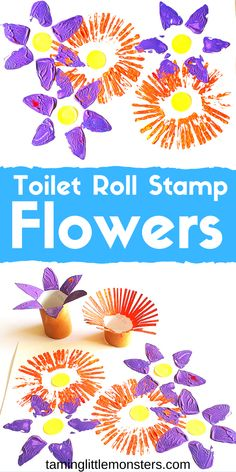 Learn how to turn toilet rolls into flower stamps with this fun Spring art activity for kids. Toddlers and preschoolers will love making a field of wildflowers with this easy craft activity. # spring activities for kids Toilet Roll Stamp Flowers Spring Crafts For Kids, Diy Crafts For Kids, Fun Crafts, Easy Toddler Crafts, Preschool Arts And Crafts, Creative Ideas For Kids, Baby Crafts, Fun Arts And Crafts, Flower Craft For Preschool