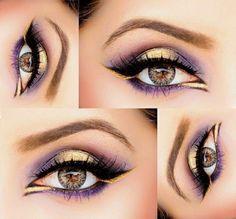 Schmink Anleitung Augenbraun lila gelbe Lidschatten