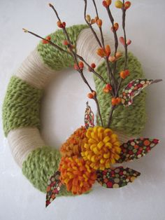 Green and ivory yarn wreath - like the different textures of yarn
