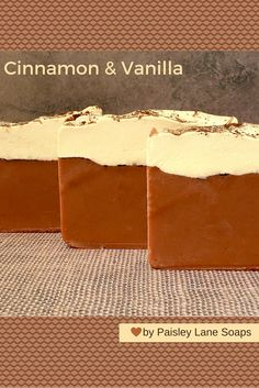 Cinnamon & Vanilla soap, is a simple blend of freshly ground cinnamon bark nestled in a sweet sugary vanilla with just a touch of musk as a base note.-Paisley Lane Soaps & More--http://paisleylanesoaps-com.3dcartstores.com/Cinnamon-Vanilla-Soap_p_237.html