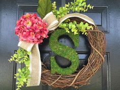 Spring and summer wreath with pink hydrangea, summer door wreath, moss wreath, monogram wreath