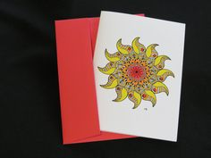 "Blank Art Card - ""Sunshine"" 5 x 7 - Any Occassion - Mandala - Inspiring - Friendship - Meditation - Mindful - Colorful - Joy - Celebration by CreateThriveGrow on Etsy https://www.etsy.com/listing/255112222/blank-art-card-sunshine-5-x-7-any"