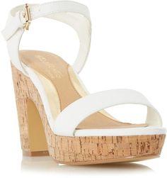 589eb76129d7 Head Over Heels by Dune White  Indiya  two part cork effect platform sandal
