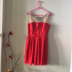 Ark & Co. Dress Red and beige sleeveless dress. Has s tulle overlay and sequins at the neckline. Zipper on the back and hook closure. Super cute and excellent condition. Ark & Co Dresses