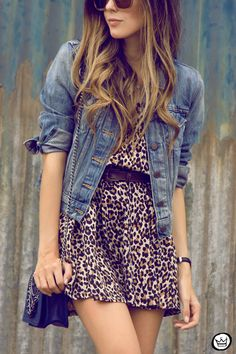 J'aime! The busy leopard print is tamed by the plain jean jacket. Love.