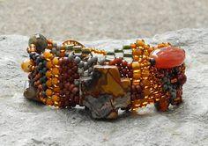 Free Form Peyote Stitch Beaded Bracelet Painter's Palette by Cheri C Meyer, on Etsy.