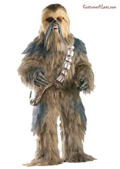 The Chewbacca Super Edition Costume is a 5 piece set featuring a bodysuit, a mask, a pair of latex hands, a sash and a pouch. This brown fur bodysuit and mask both have matching layered multicolored long hair fur. Also included is a pair of latex hands, a sash, and a pouch.