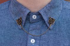Flor rosa Collar Clip Collar cadena de bronce por DapperandSwag
